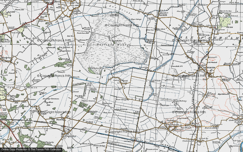 Old Map of Wroot, 1923 in 1923