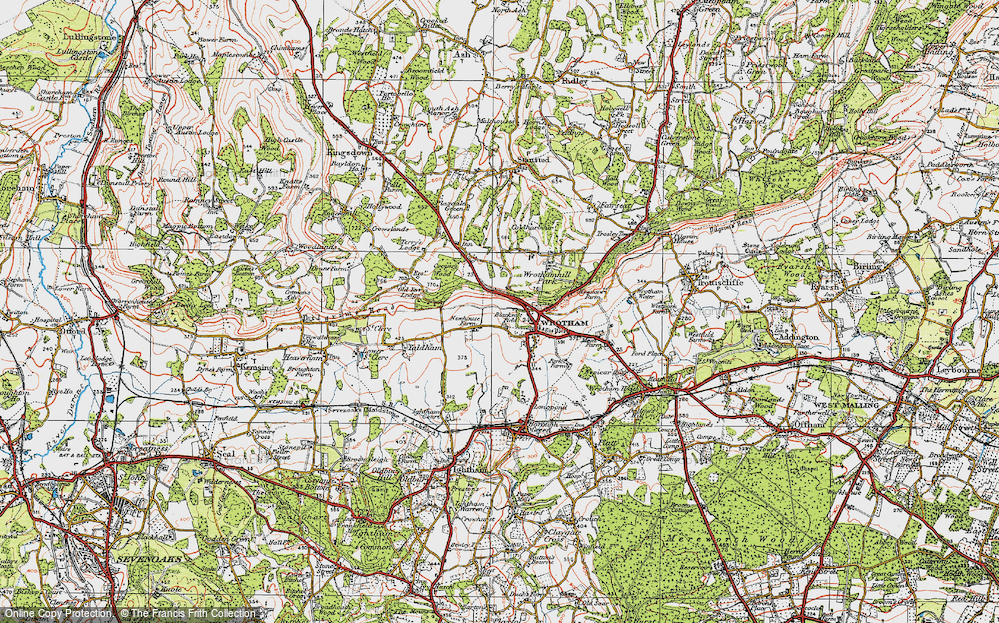 Old Map of Wrotham, 1920 in 1920
