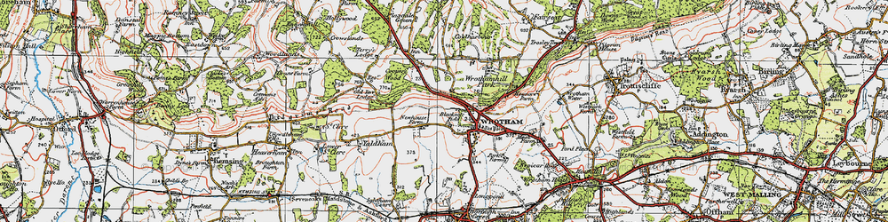 Old map of Wrotham in 1920