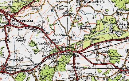 Old map of Wrotham Water in 1920