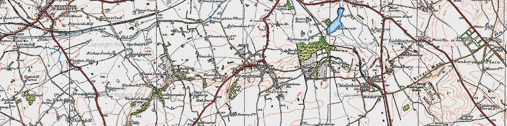 Old map of Wroughton in 1919