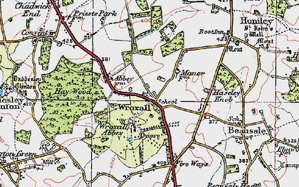 Old map of Wroxhall Abbey (sch) in 1919
