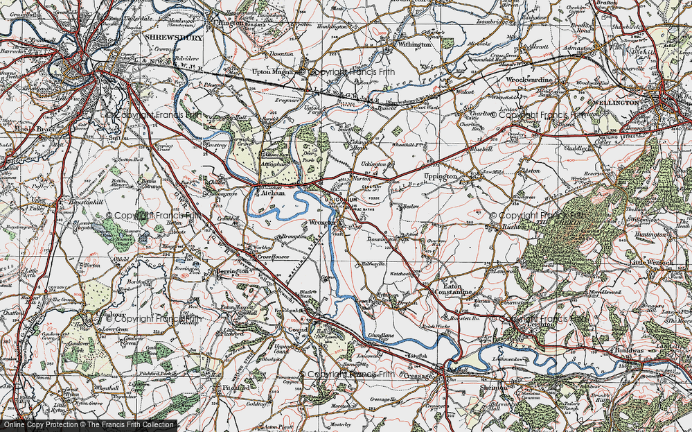 Old Map of Wroxeter, 1921 in 1921