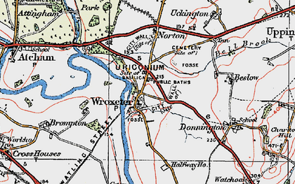 Old map of Wroxeter Roman City in 1921
