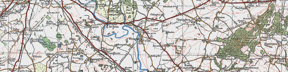 Old map of Wroxeter in 1921