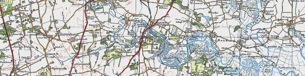 Old map of Wroxham in 1922