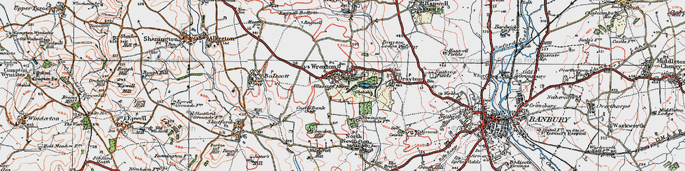 Old map of Wroxton Abbey in 1919