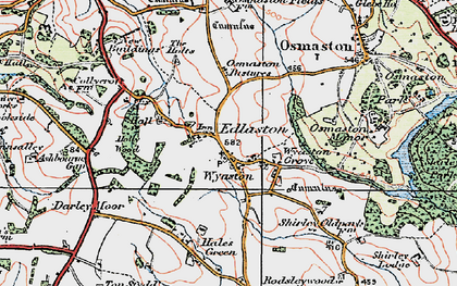 Old map of Wyaston in 1921