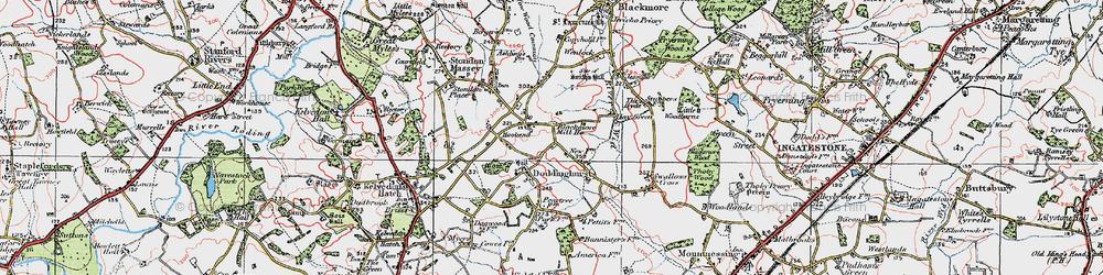 Old map of Wyatt's Green in 1920