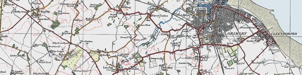 Old map of Wybers Wood in 1923