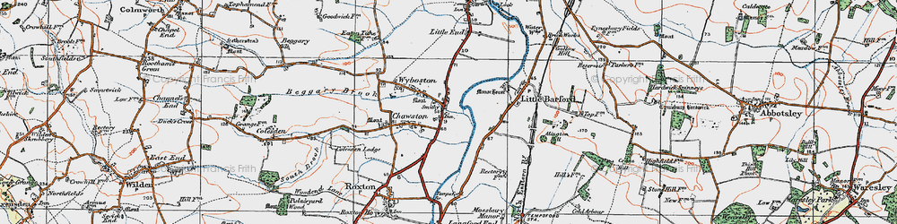 Old map of Wyboston in 1919