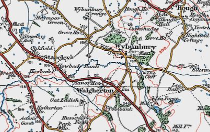Old map of Wybunbury Grange in 1921