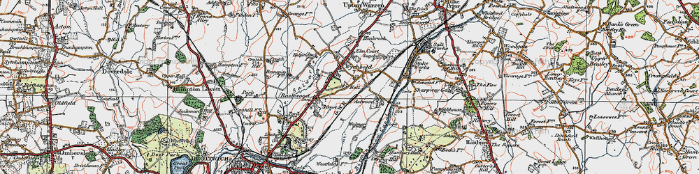 Old map of Wychbold in 1919