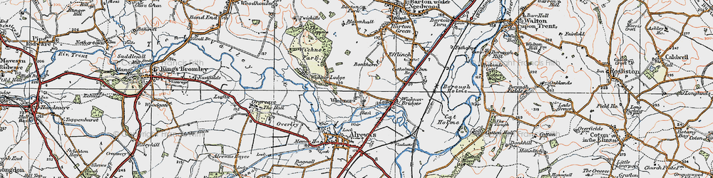Old map of Wychnor in 1921