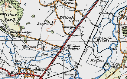 Old map of Wychnor Bridges in 1921