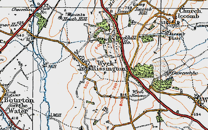 Old map of Wyck Rissington in 1919
