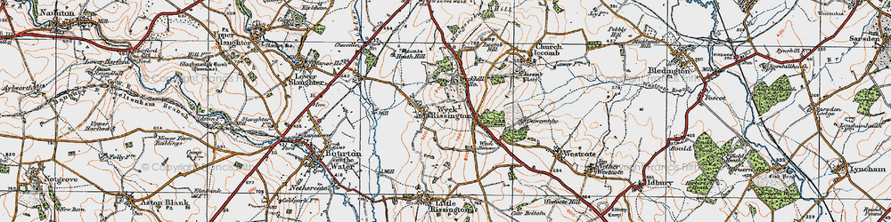 Old map of Wyck Hill in 1919