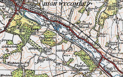 Old map of Wycombe Marsh in 1919