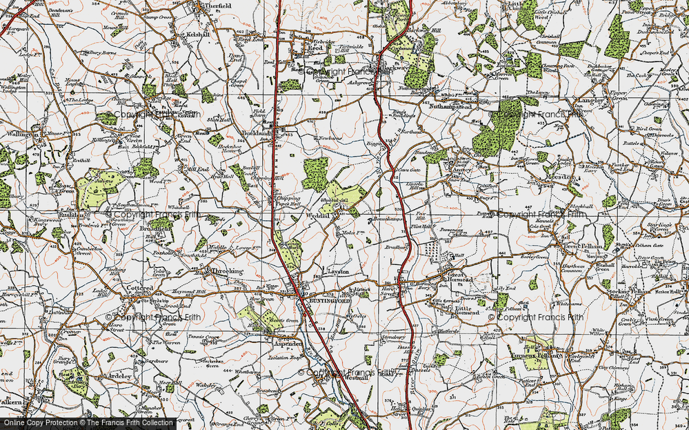 Old Map of Wyddial, 1919 in 1919