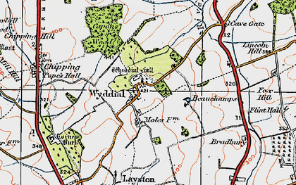 Old map of Wyddial Hall in 1919