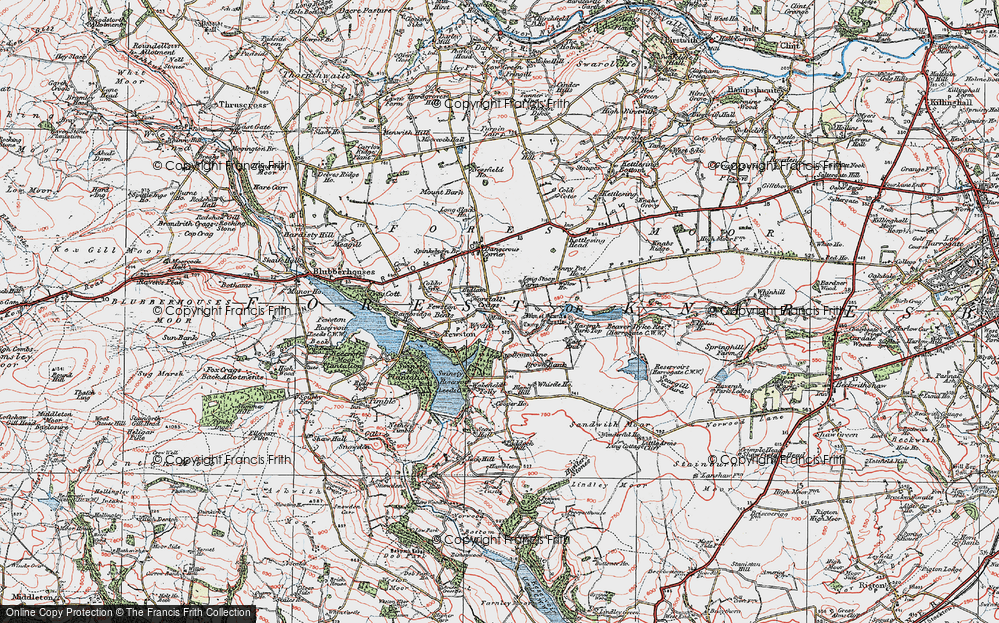 Old Map of Historic Map covering Bank Slack in 1925