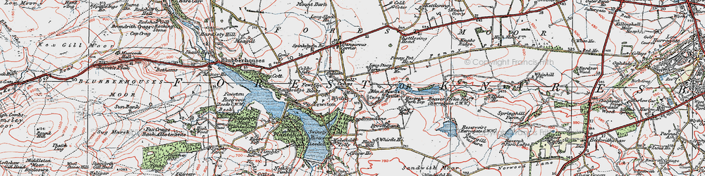 Old map of Worstall Craggs in 1925