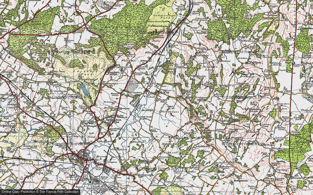 Old Map of Historic Map covering Wye Court in 1921