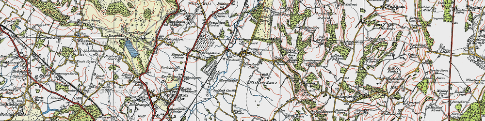 Old map of Wye in 1921