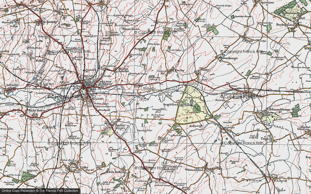 Old Map of Historic Map covering Laxton's Covert in 1921