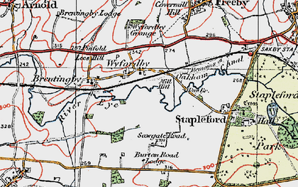 Old map of Wyfordby in 1921