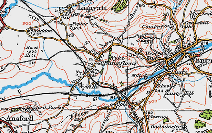 Old map of Wyke Champflower in 1919