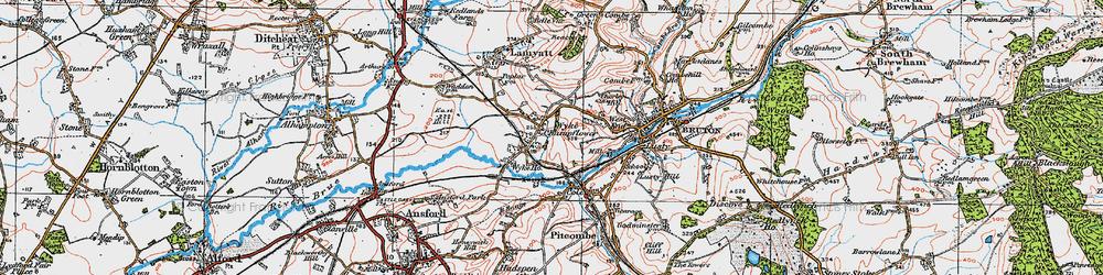 Old map of Wyke Champflower in 1919