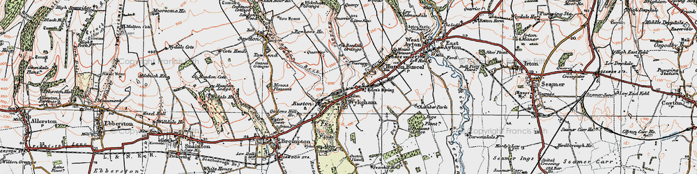 Old map of Wykeham Abbey in 1925