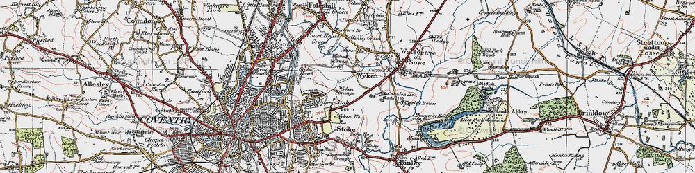 Old map of Wyken in 1920