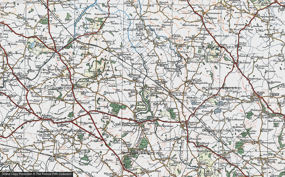 Old Map of Wykey, 1921 in 1921