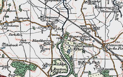 Old map of Wykey in 1921