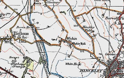 Old map of Wykin Fields in 1921