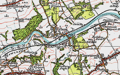 Old map of Wylam in 1925