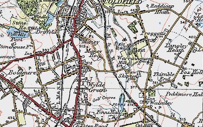Old map of Wylde Green in 1921