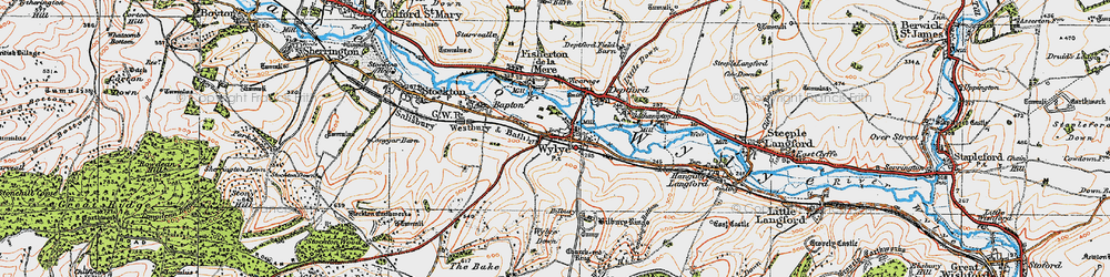 Old map of Wylye in 1919