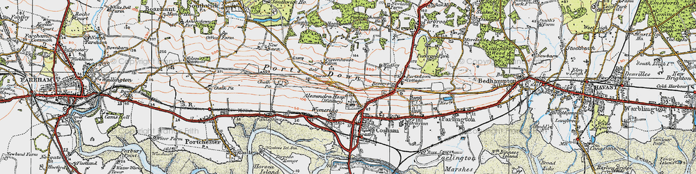 Old map of Wymering in 1919