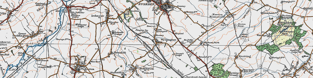 Old map of Wymington in 1919