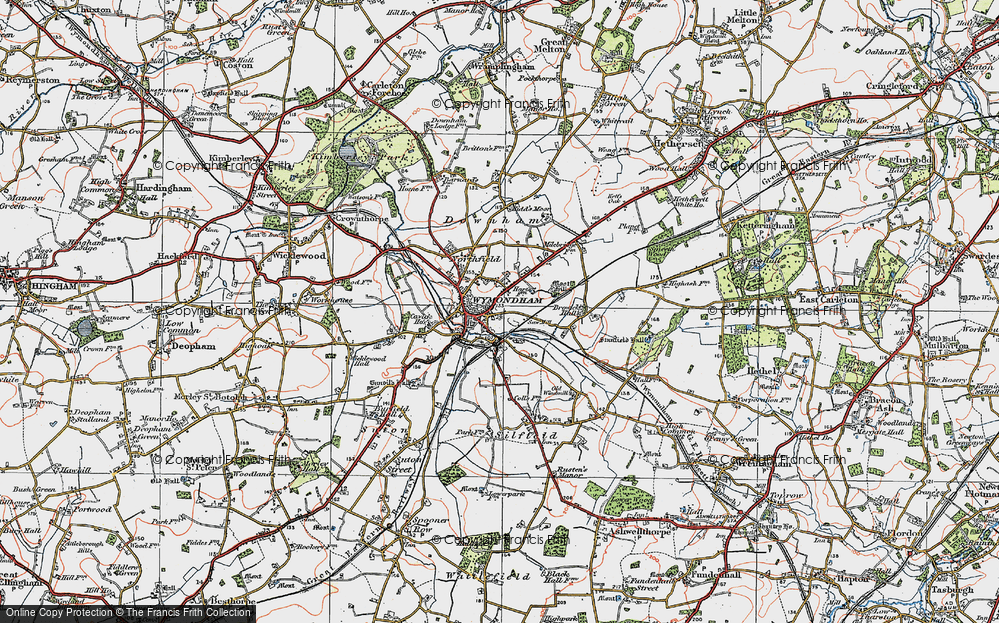 Old Map of Wymondham, 1922 in 1922
