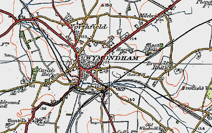 Old map of Wymondham in 1922