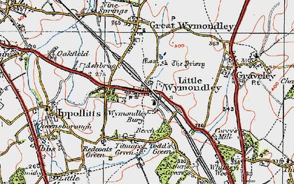 Old map of Wymondley Bury in 1919
