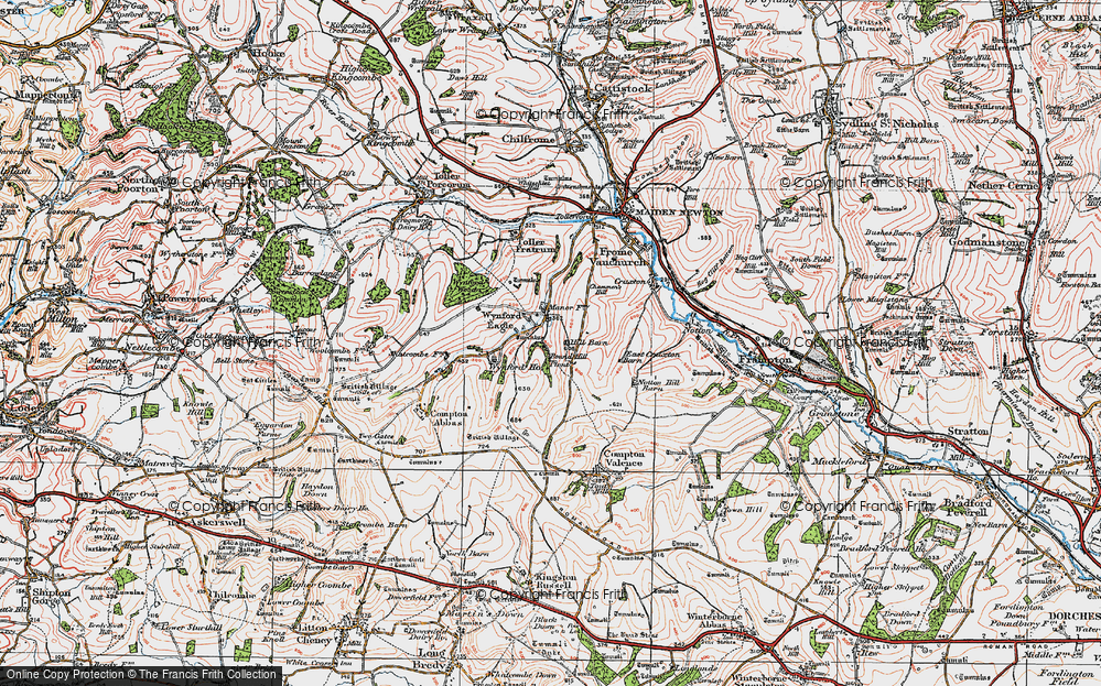 Old Map of Historic Map covering Wynford Ho in 1919