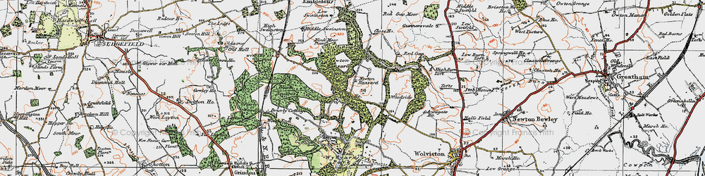 Old map of Whinny Moor Plantn in 1925