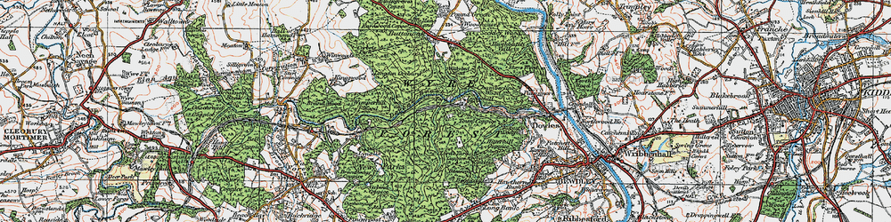 Old map of Wyre Forest in 1921