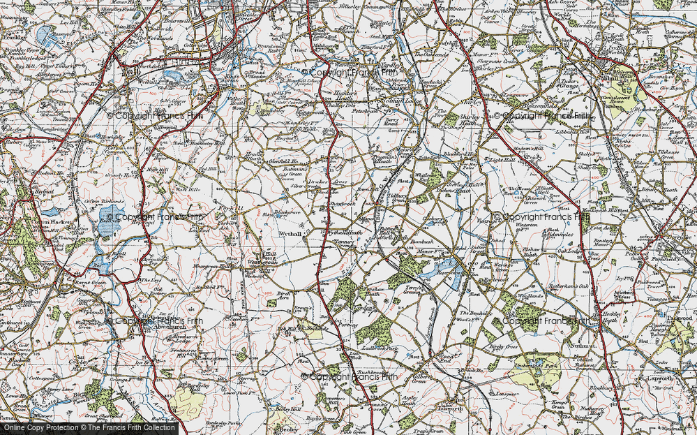 Old Map of Wythall, 1921 in 1921