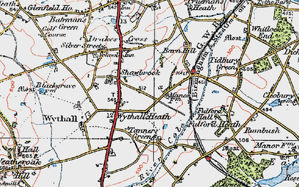 Old map of Wythall in 1921